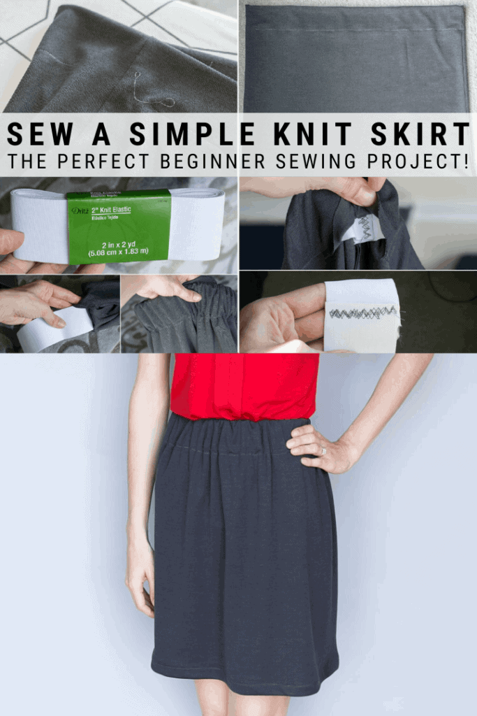 pinnable graphic about how to make a simple knit skirt with text overlay