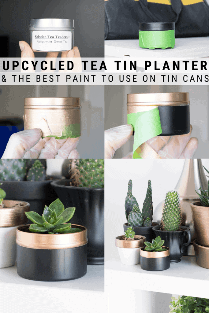 pinnable graphic about how to turn an old tea tin into a planter including text overlay
