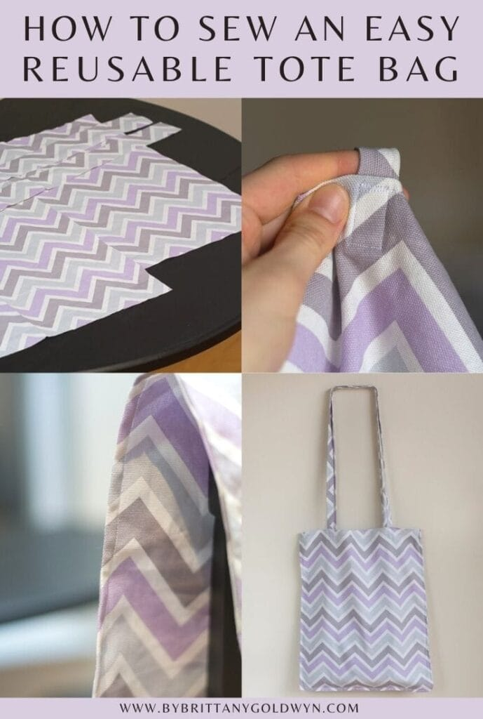 how to sew an easy tote bag pinnable graphic with text overlay