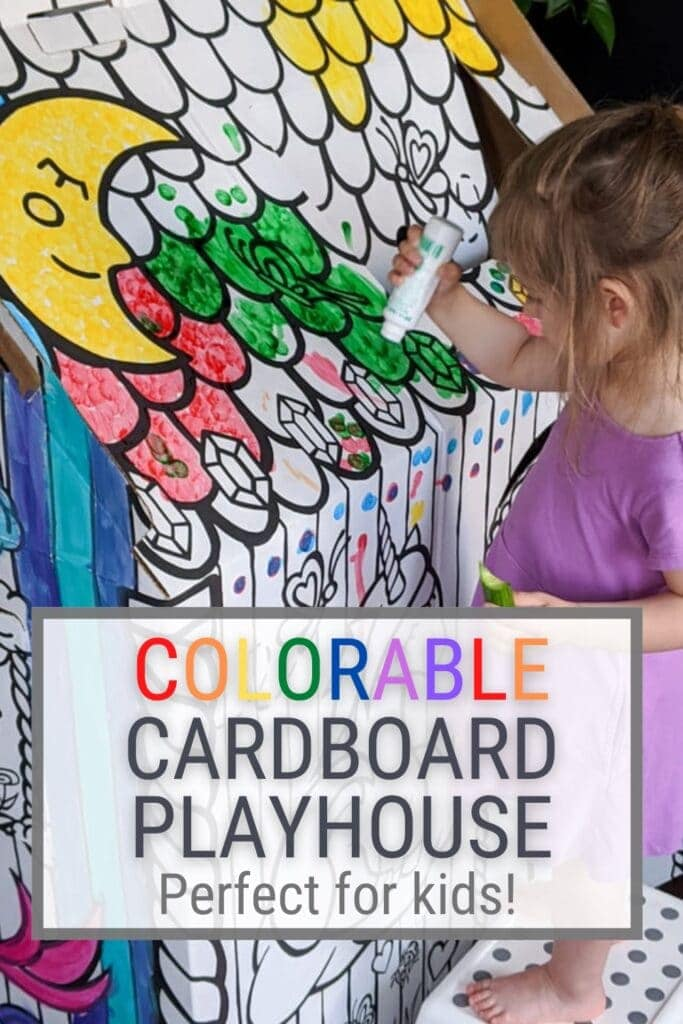 pinnable graphic about my Colorable Cardboard Playhouse Review with pictures of the playhouse and text overlay