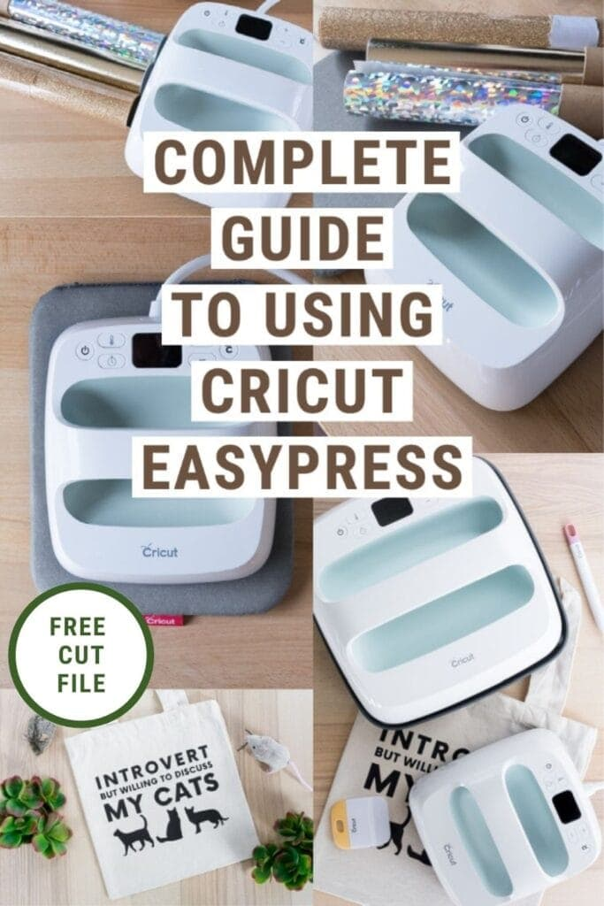 pinnable graphic with images of vinyl and the Cricut EasyPress with text overlay about how to use the Cricut EasyPress