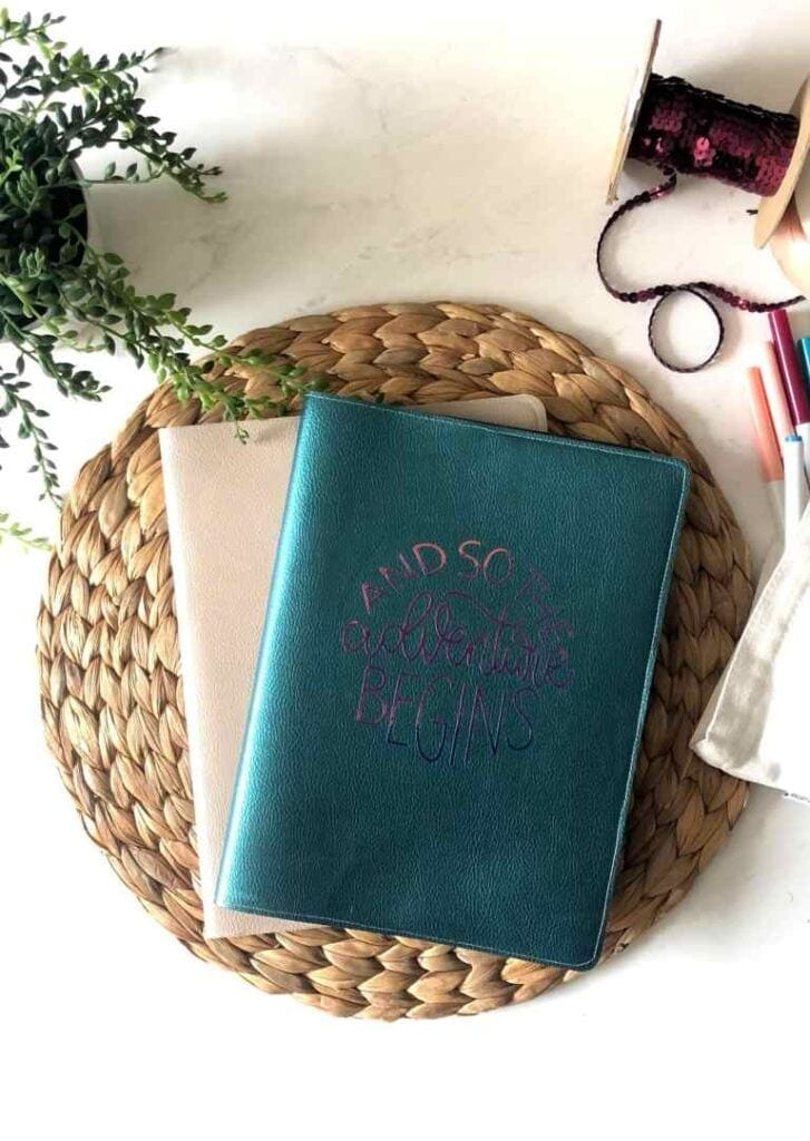 DIY leather metallic journal cover made with a Cricut machine
