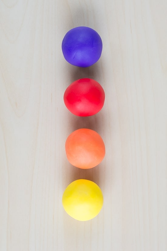 balls of colorful clay