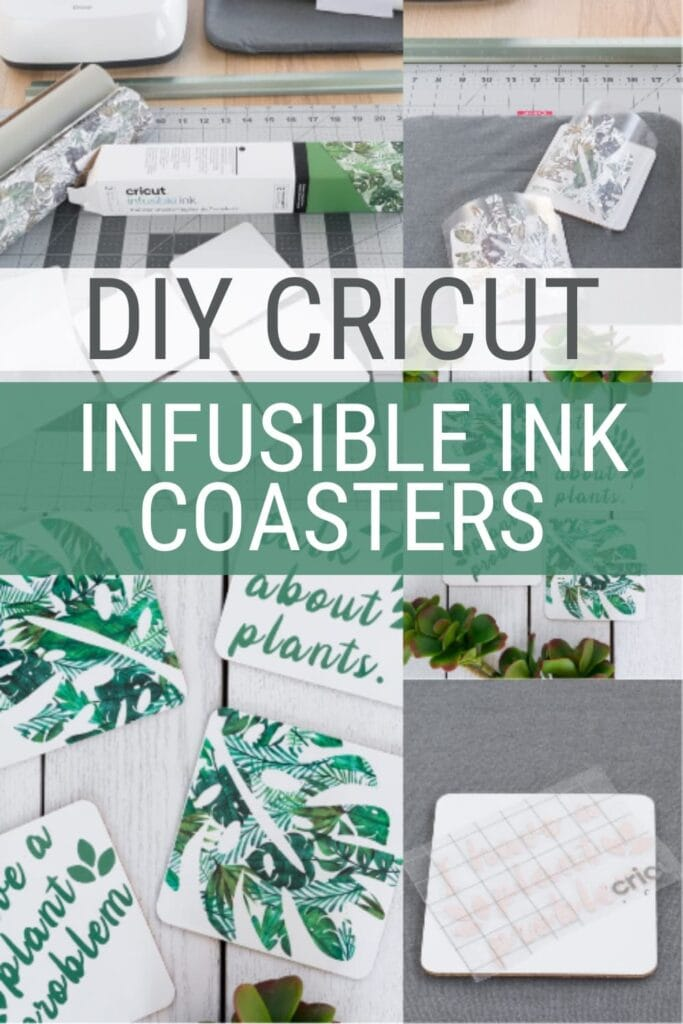 pinnable graphic about how to use Cricut Infusible Ink to make coasters