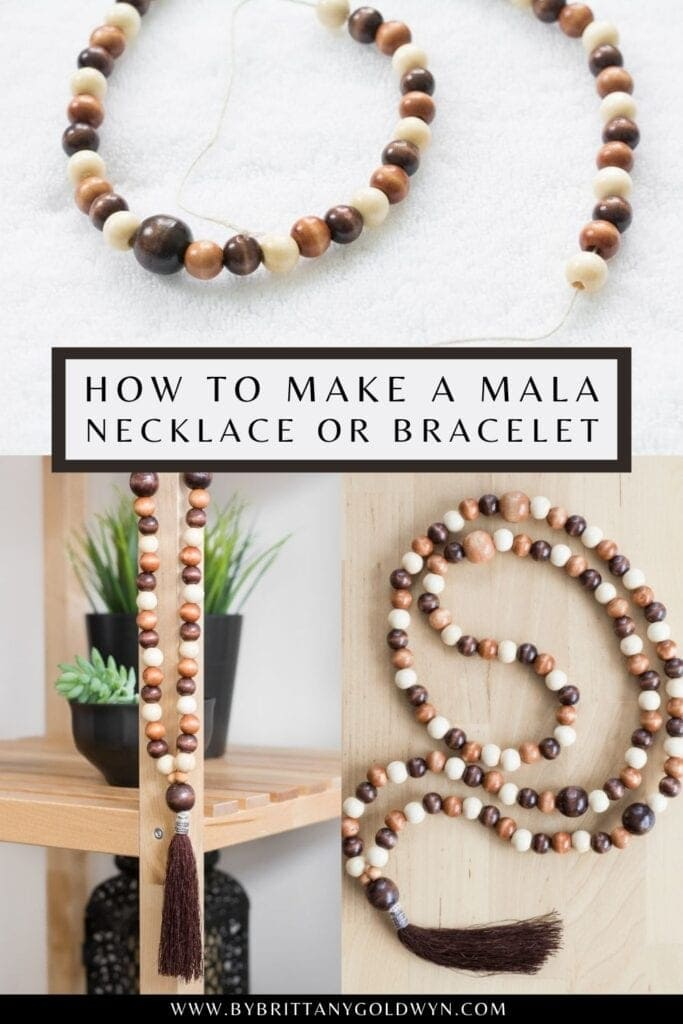 pinnable graphic about how to make a mala necklace with text overlay