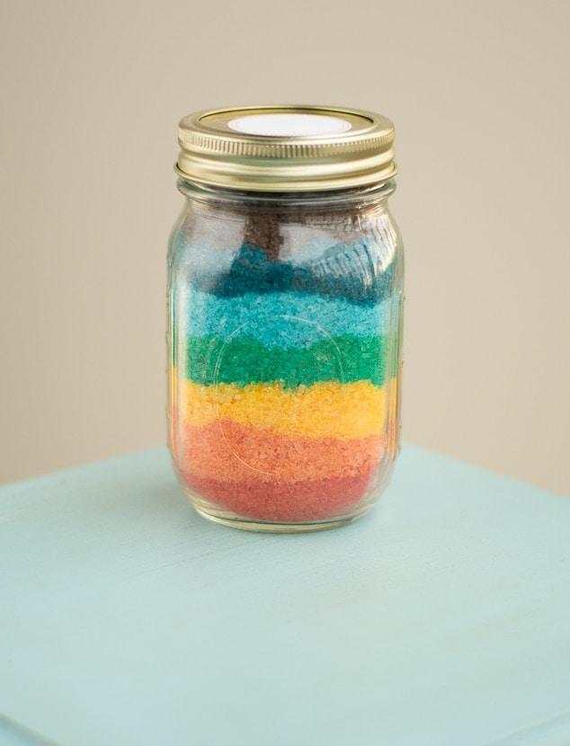 finished rainbow homemade bath salts