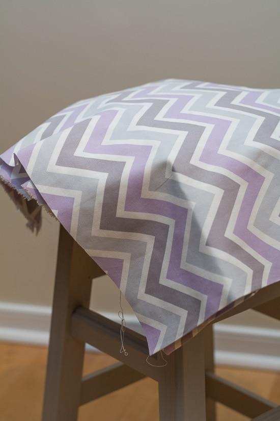 fabric on a stool