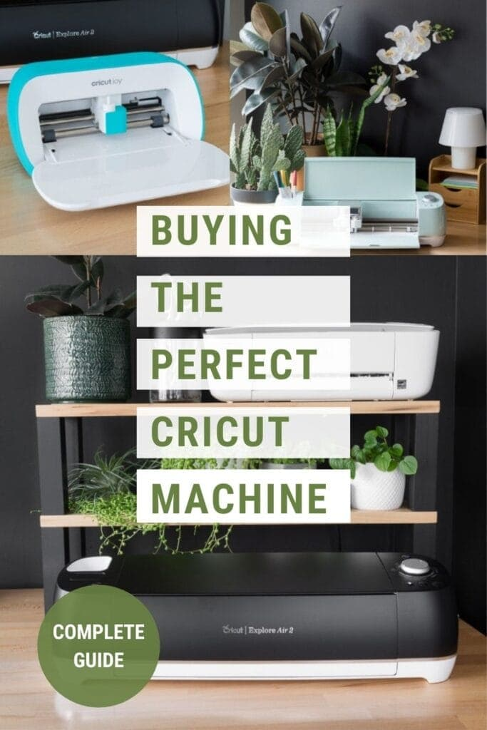 Image collage of Cricut machines and projects text overlay Everything You Need to Know About Buying a Cricut Machine, Complete Guide