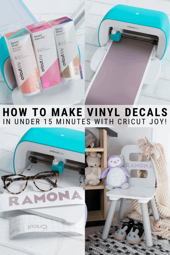 pinnable graphic about creating with the Cricut joy including photos of projects and text overlay