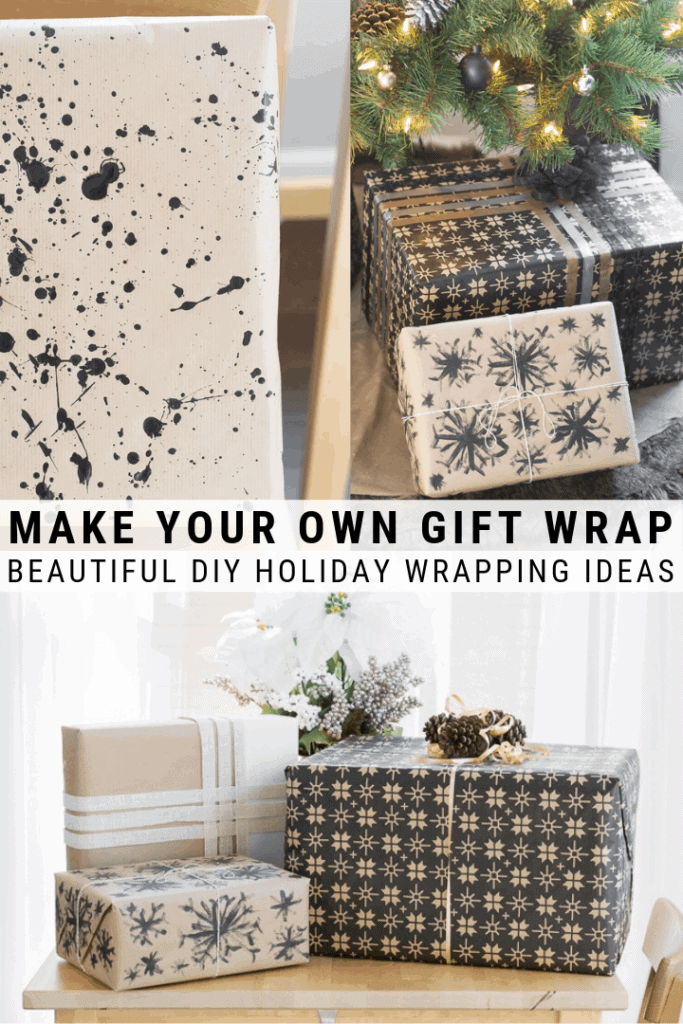 Image collage of DIY gift wrap with text 5 beautiful holiday gift wrap DIYs, how to make your own wrapping paper
