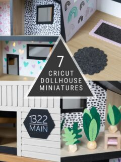 Image collage of DIY dollhouse miniatures with text overlay
