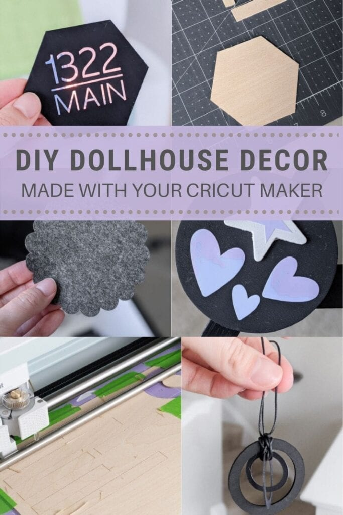 pinnable graphic about how to make dollhouse decor using your cricut maker including photos and text overlay
