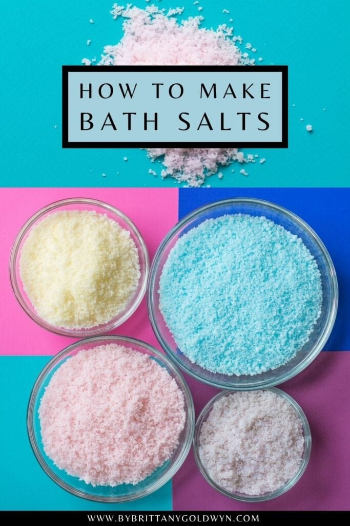 pinnable graphic with images of baked bath salts with text overlay about how to make them