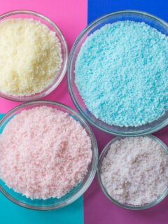 DIY baked bath salts on a table
