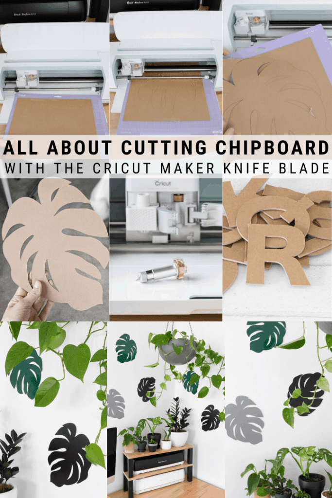 pinnable graphic about cutting chipboard with the Cricut maker knife blade including photos and text overlay