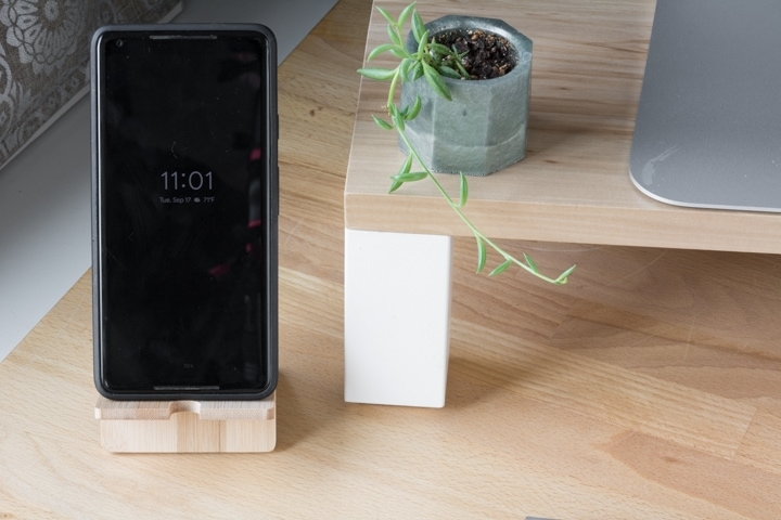 phone on a cell phone stand