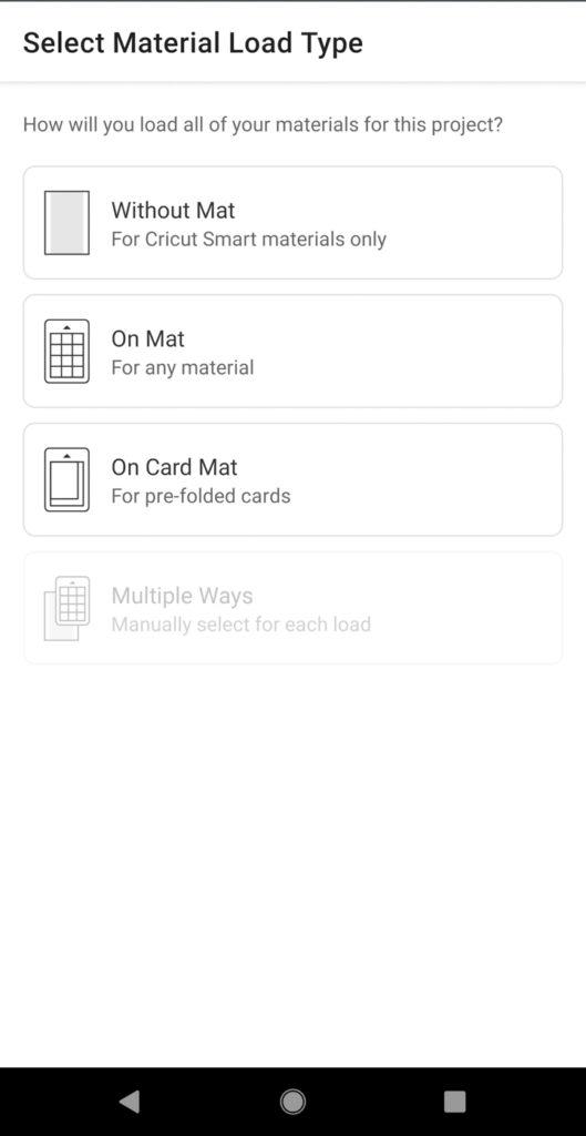 screenshot of Cricut Design Space on mobile