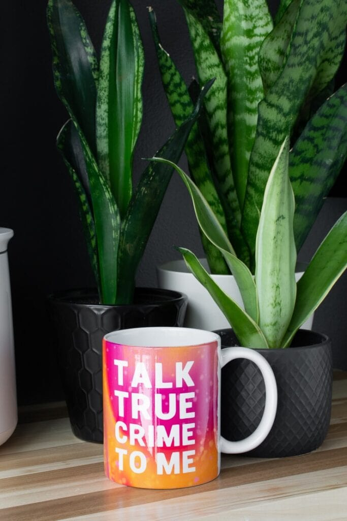 Cricut mug press mug that says talk true crime to me with plants on a table