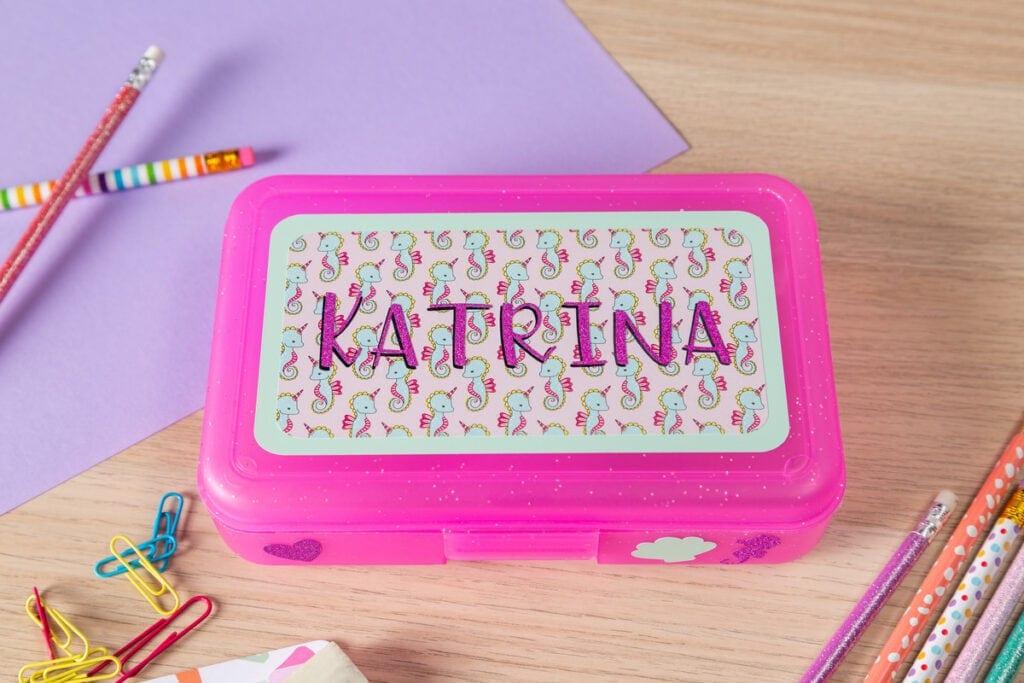 personalized kids pencil case using a Cricut machine