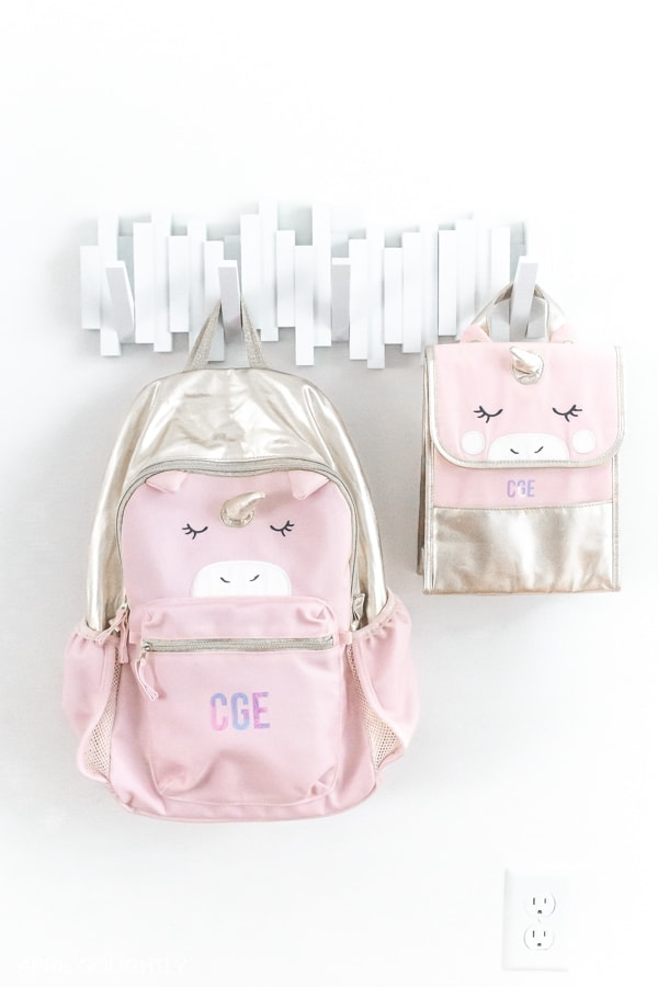 personalized kids backpack and lunch bag using a Cricut machine