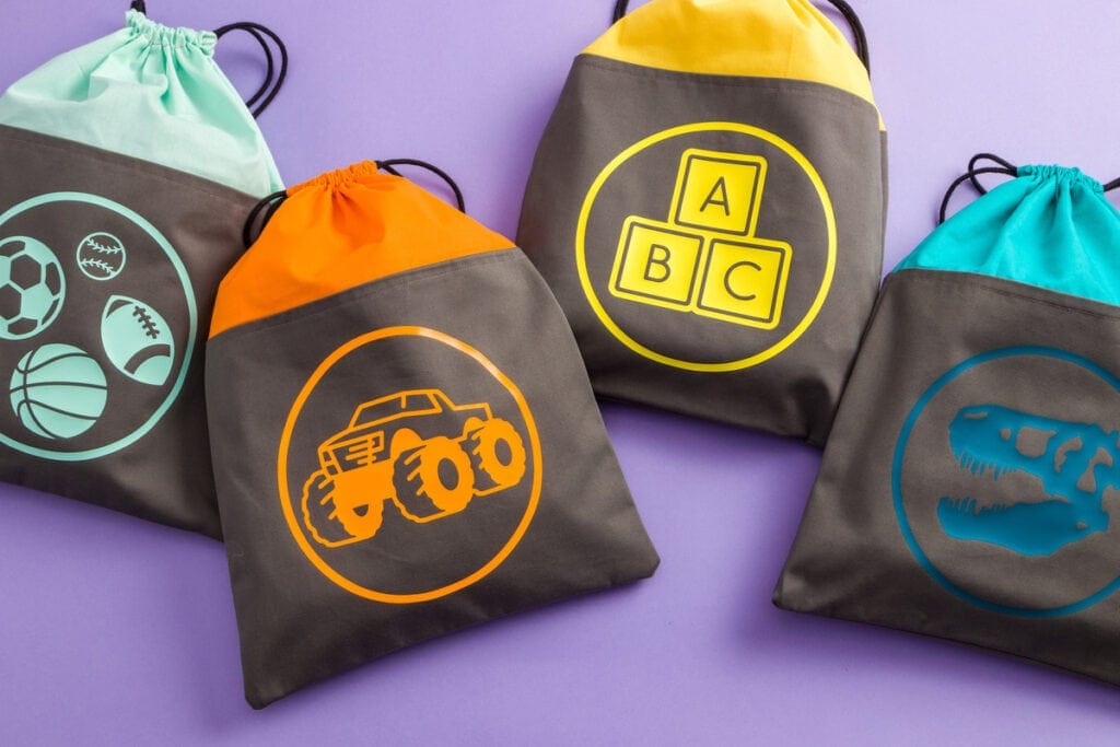 personalized kids toy storage bags using a Cricut machine