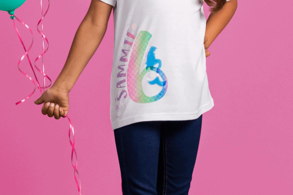 personalized kids birthday shirt using a Cricut machine
