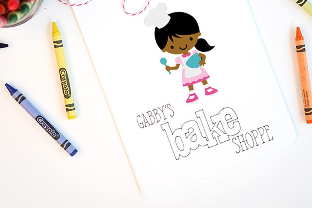 personalized kids coloring book using a Cricut machine
