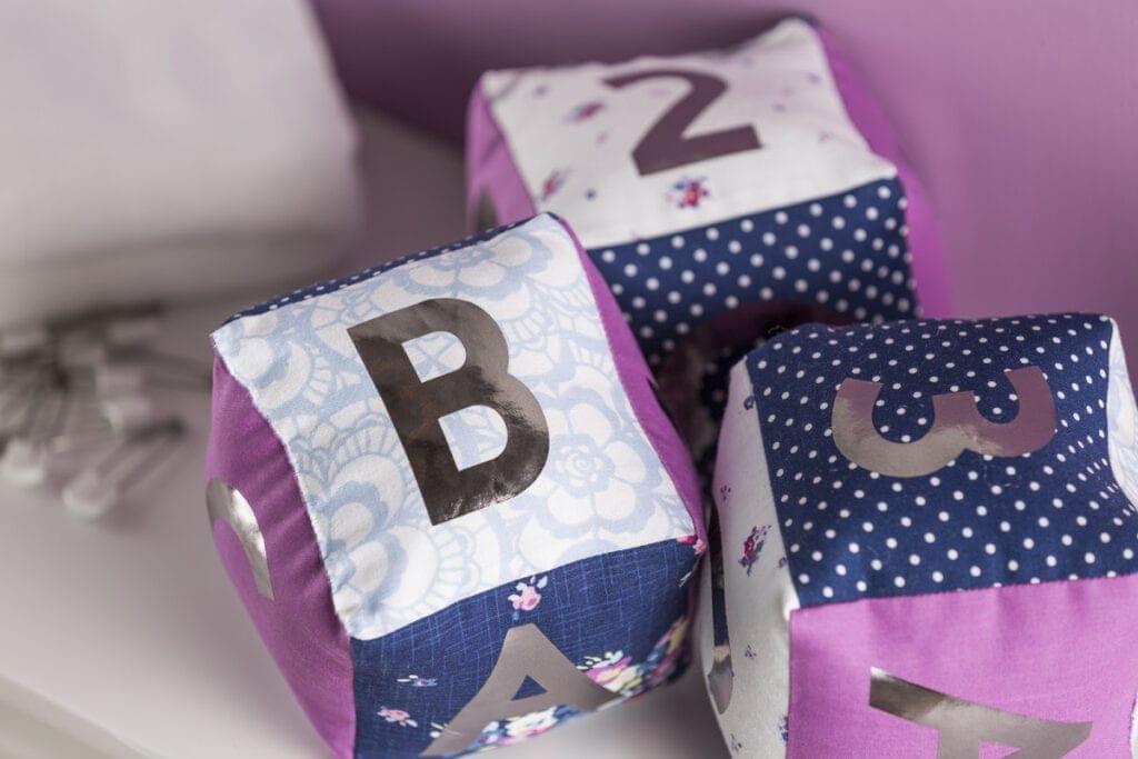 personalized baby softie blocks using a Cricut machine