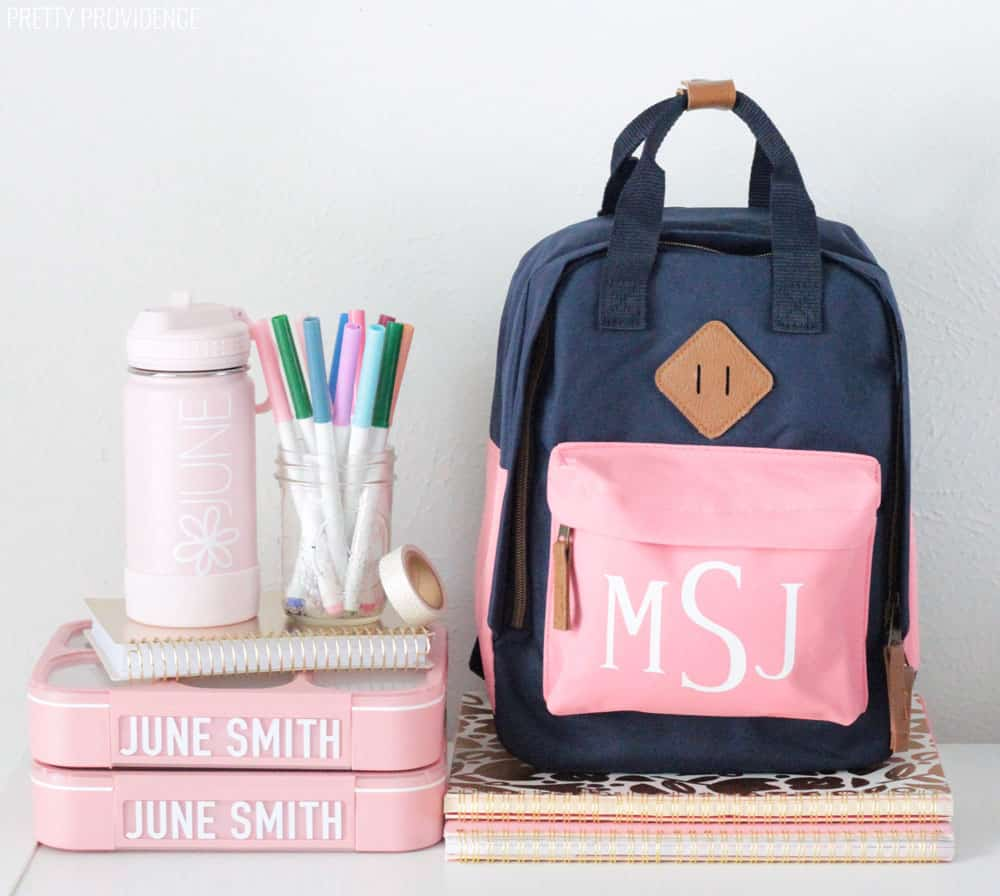 personalized kids backpack and lunch gear using a Cricut machine