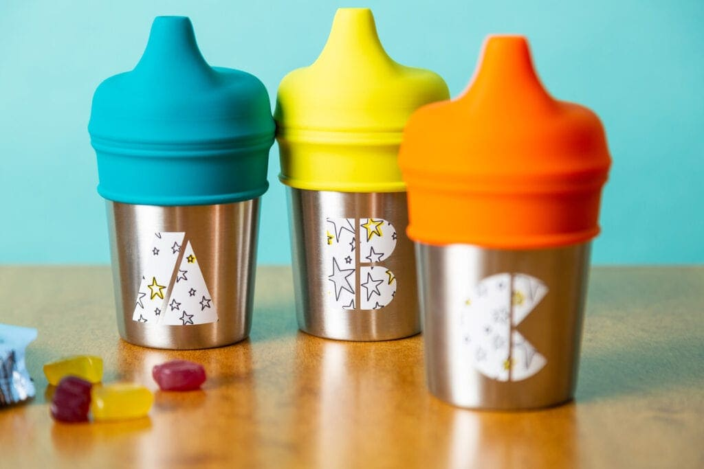 personalized sippy cups for kids using a Cricut machine