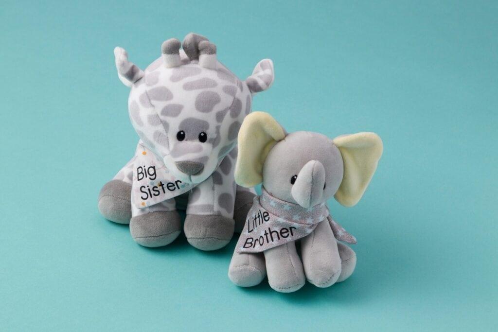 personalized stuffies made using a Cricut machine