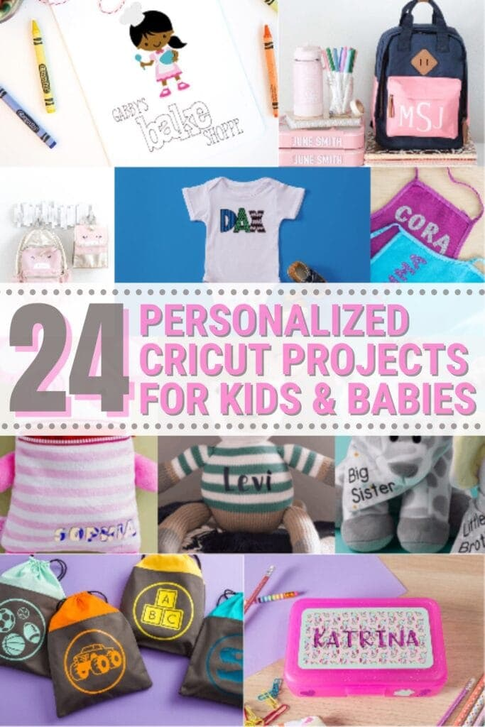 image collage of personalized cricut projects to make for your kids