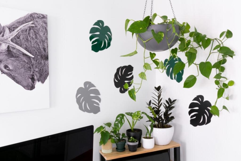 monstera leaf decor on a wall