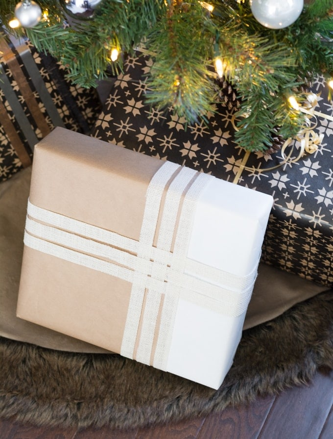 paint-dipped gift wrap with burlap ribbon