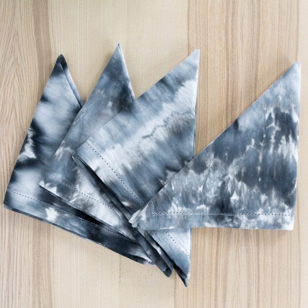 finished ice dyed cotton napkins on a table