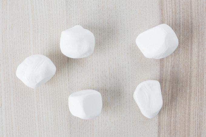 white balls of clay