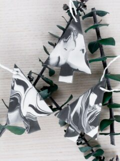 marbled Christmas ornaments using clay