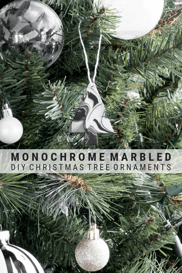 pinnable graphic about how to make marbled Christmas ornaments using clay including a photo of the finished ornament and text overlay