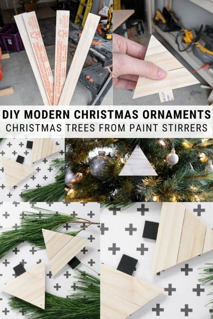 pinnable graphic about how to make modern Christmas ornaments using painter stirrers