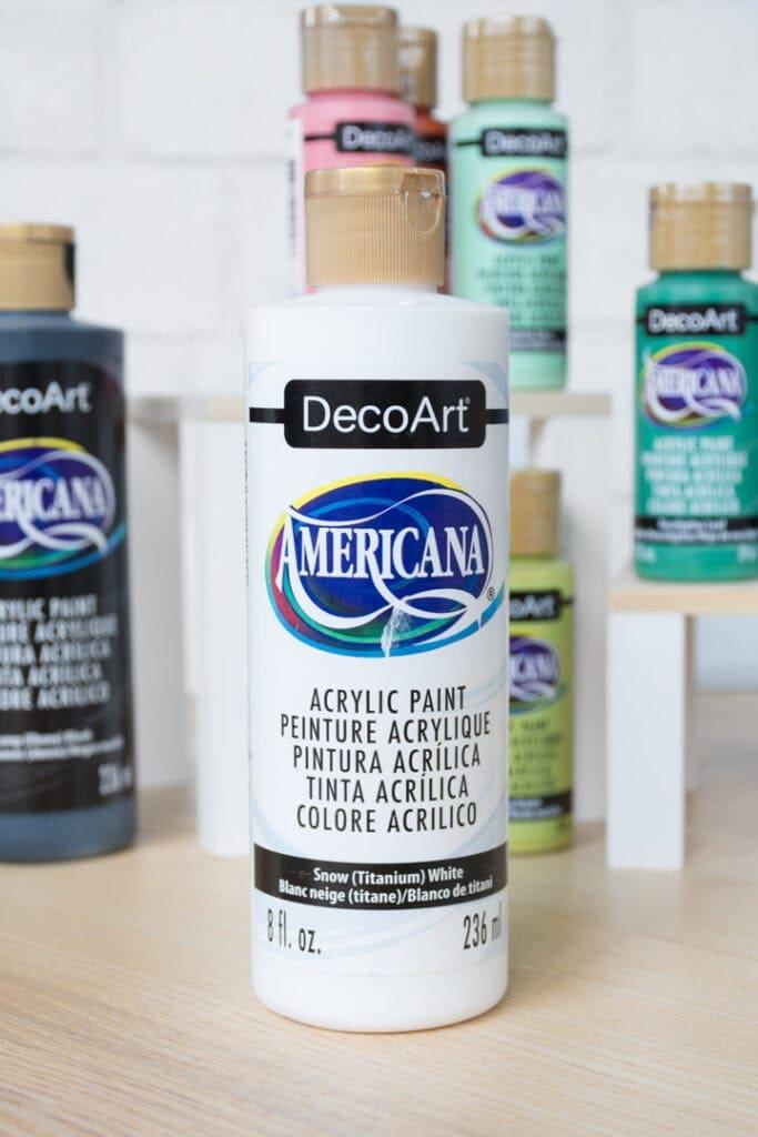 bottle of white decoart americana paint