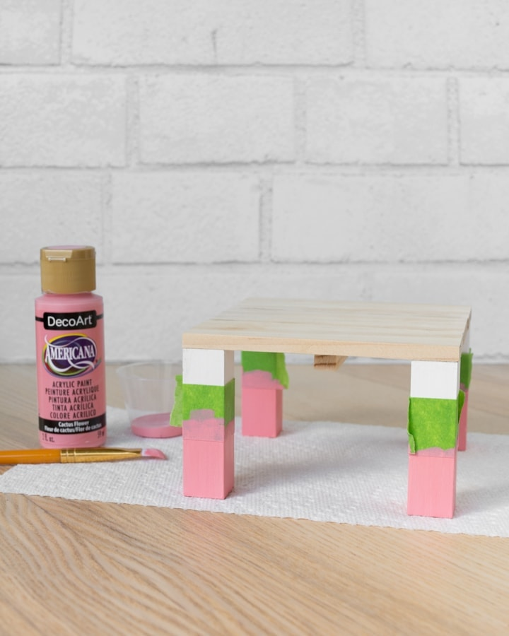 painting legs on the mini plant stands