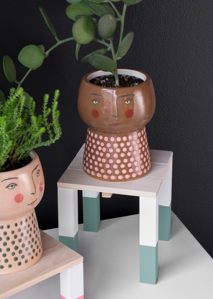 finished DIY painted mini plant stands