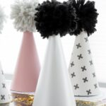 DIY Scrapbook Paper & Yarn Pom Pom Party Hats
