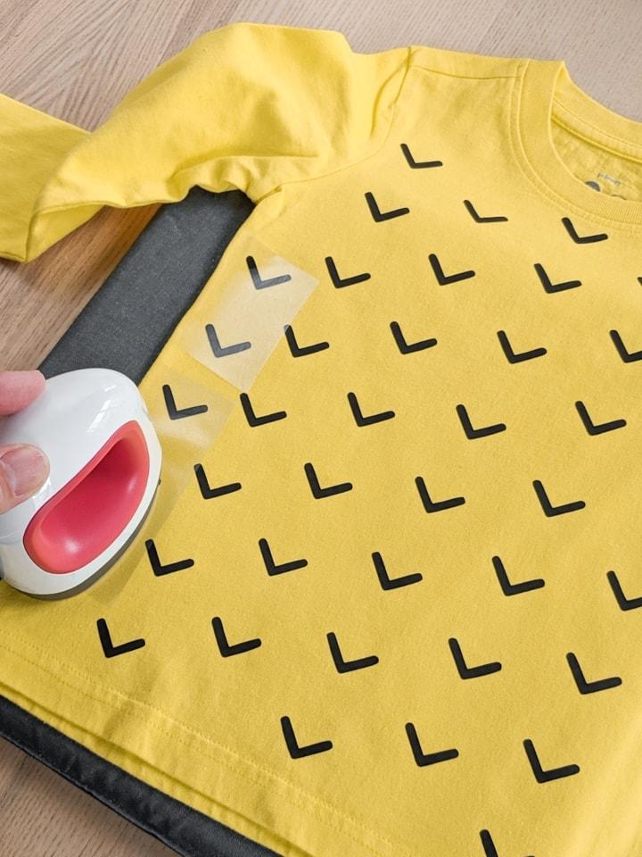 DIY pineapple costume shirt using black iron on