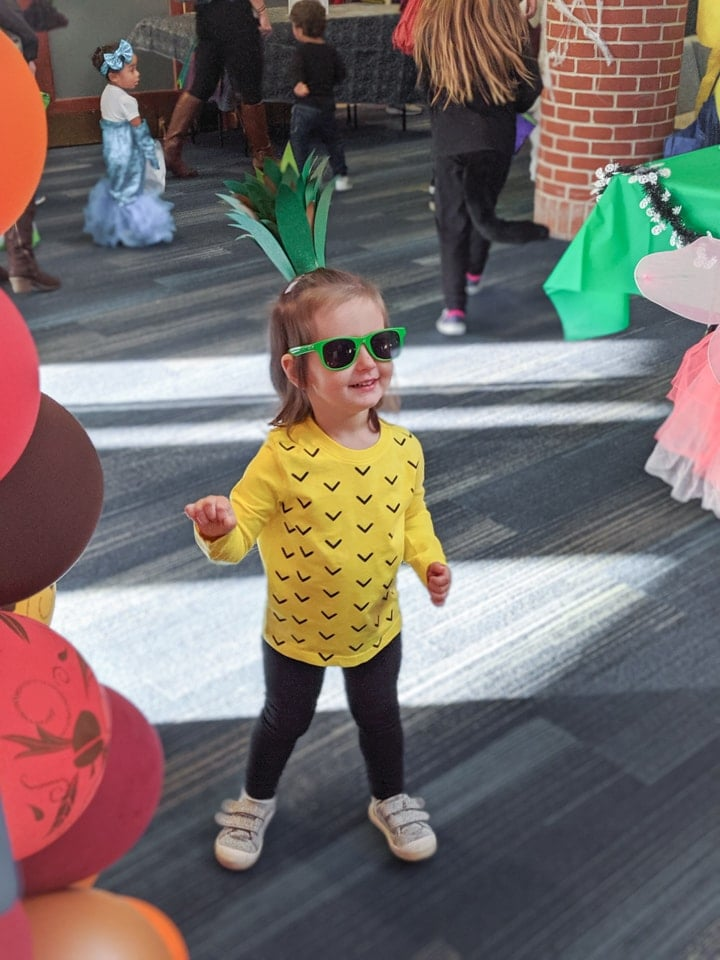 toddler in a DIY pineapple costume