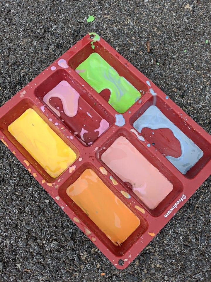 leftovers of DIY sidewalk chalk paint