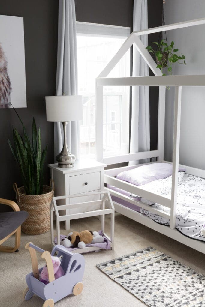 modern toddler room with a house-shaped bed