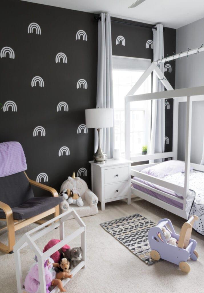 DIY wall decals in a modern kids room