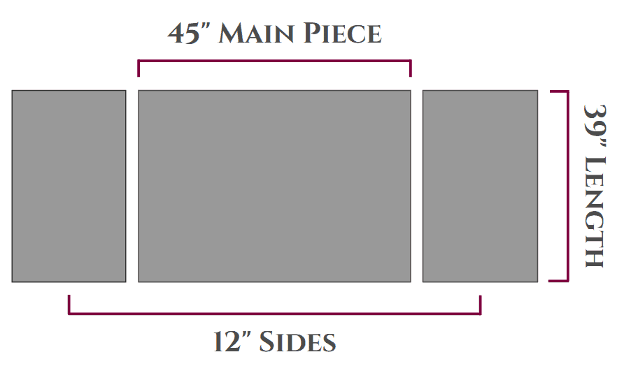 graphic showing the measurements for the DIY wrap cardigan