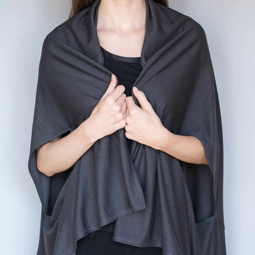 woman wearing a DIY wrap cardigan